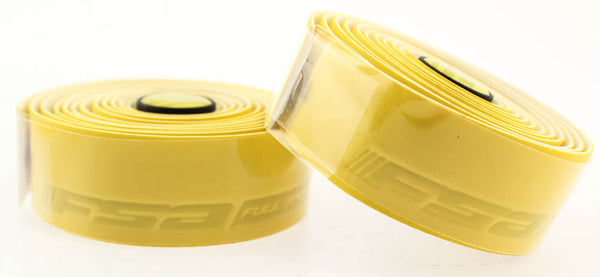 FSA GRT Road Drop Bar Bike Handlebar Tape w/ Plugs Cork Gel Yellow 186-0029 NEW