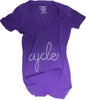 CLOCKWORK GEARS CYCLE Women Large Lg T-Shirt Short Sleeve Purple Rush V-Neck NEW