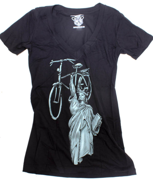 CLOCKWORK GEARS LIBERTY RIDE Women's XL T-Shirt Short Sleeve Black V-Neck NEW