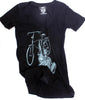 CLOCKWORK GEARS LIBERTY RIDE Women's Small T-Shirt Short Sleeve Black V-Neck NEW