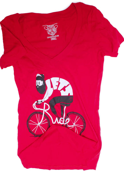 CLOCKWORK GEARS LET'S RIDE Women's XL T-Shirt Short Sleeve Red V-Neck Cotton NEW