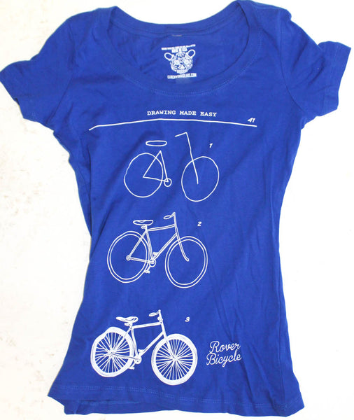 CLOCKWORK GEARS HOW TO DRAW A BIKE XL Women T-Shirt Short Sleeve Royal Blue NEW
