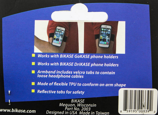 BIKEASE GoKase Armband With Bracket Phone Mount Reflective DriKase Black NEW