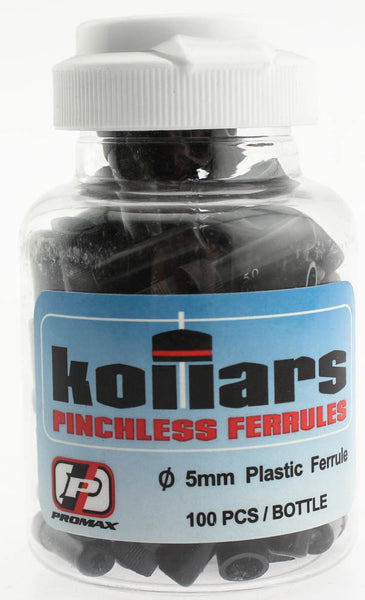 PROMAX KOLLARS Pinchless Bike Ferrules 5mm Plastic 100 Count Pcs Black NEW