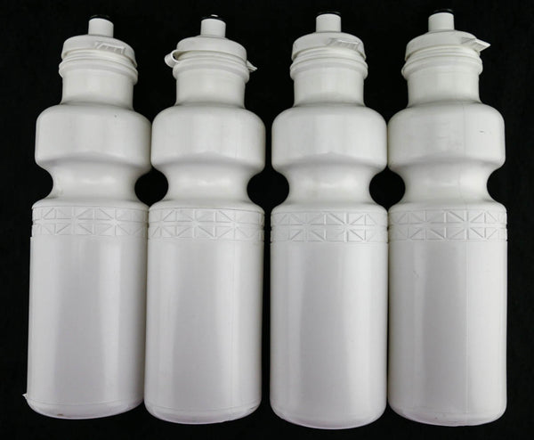 4 QTY California Springs DuoFlow 24oz Ounce Bicycle Water Bottles White NEW