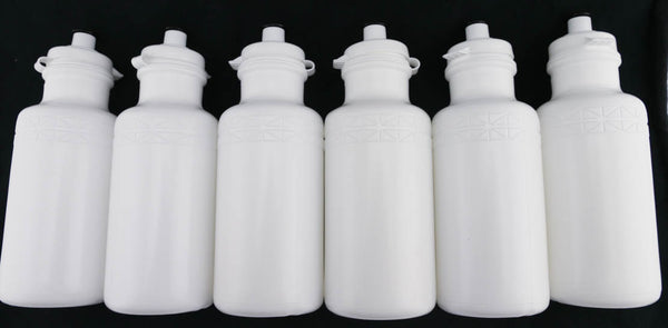 6 QTY California Springs DuoFlow 20oz Ounce Bicycle Water Bottles White NEW