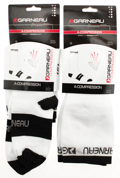 Lot of 2 GARNEAU A-COMPRESSION Cycling Running Socks X-Small White Over Calf NEW