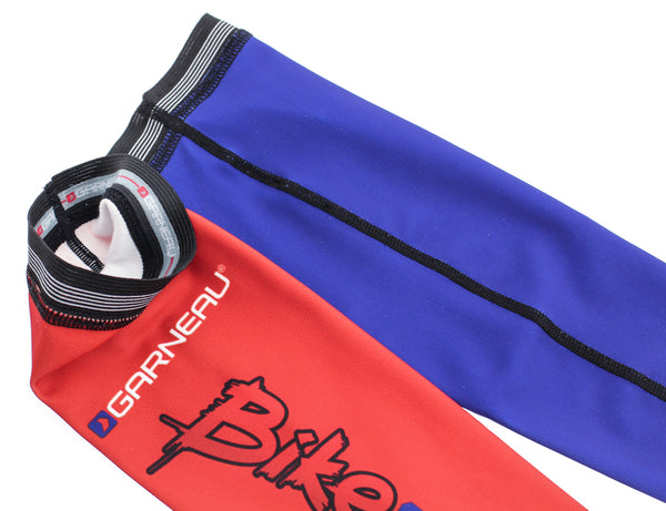 LOUIS GARNEAU Arm Warmers Cycling Running Sleeves Red/Blue XS X-Small NEW