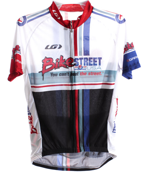 LOUIS GARNEAU Women Cycling Jersey Short Sleeve XS White/Black/Blue Bike St NEW