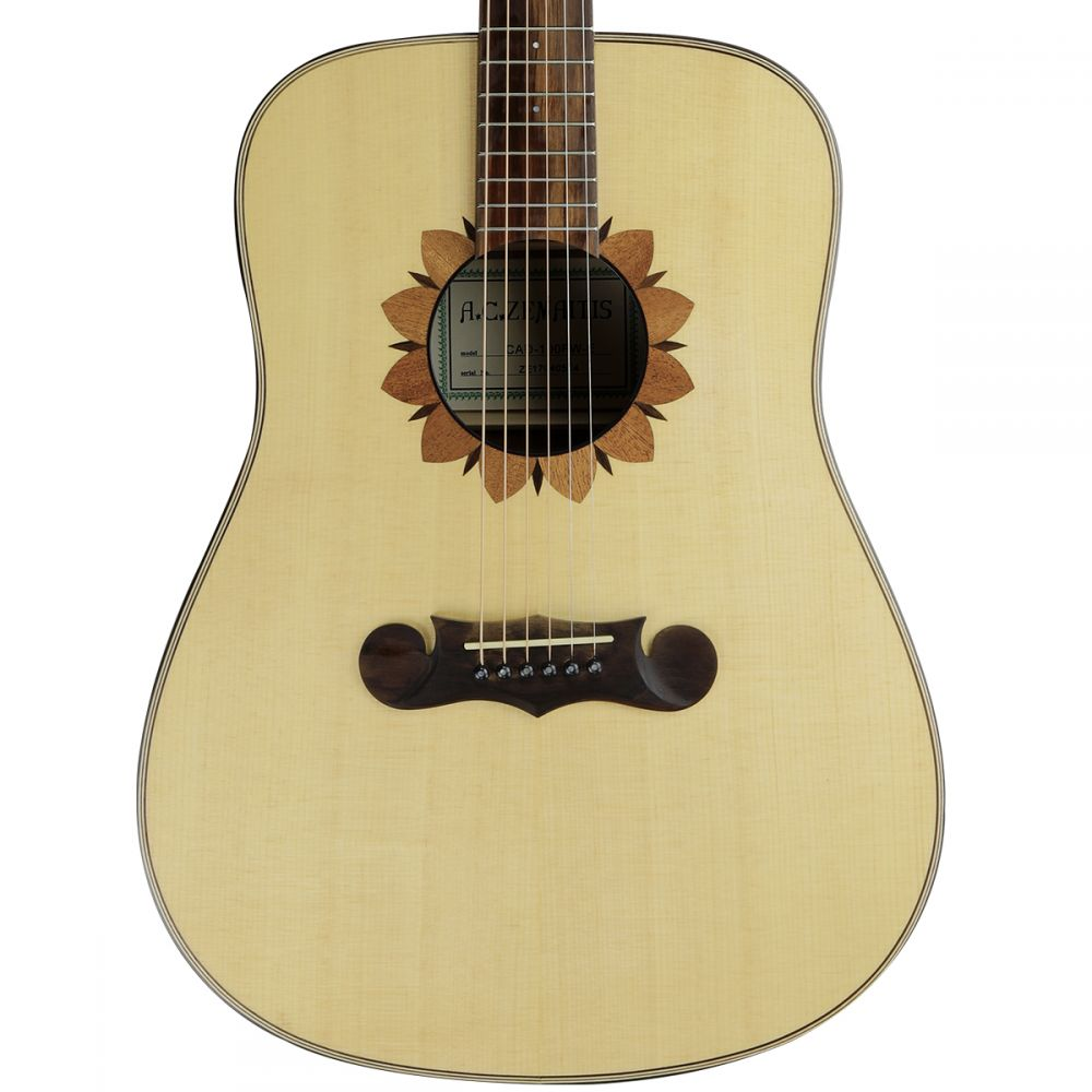 Zemaitis CAD-100FW-E Dreadnought Flower Soundhole Electric Acoustic