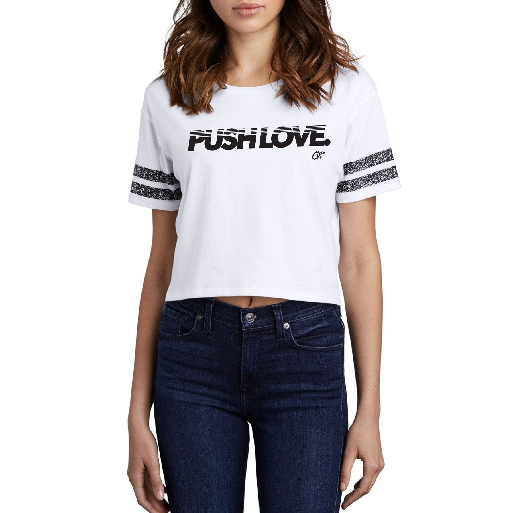 Pushin' Football Crop Tee by Calibis Clothing