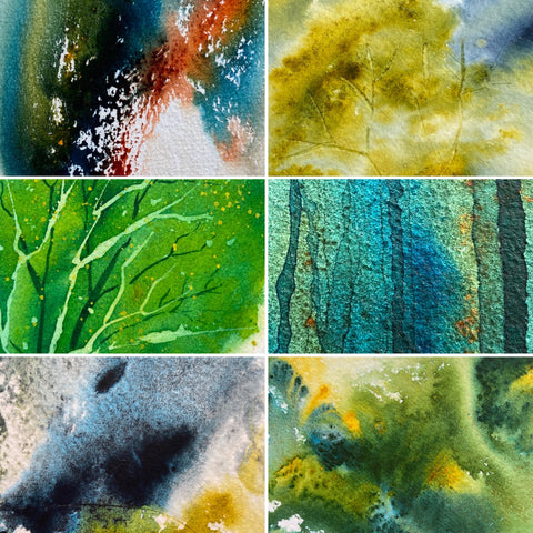 collage of all Spring collection watercolor paintings