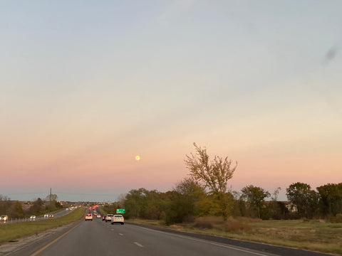 fall sunset gradient with full moon