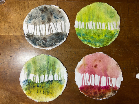 """""""Seasons"""" watercolor palette knife series on round paper"""