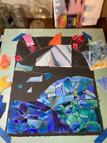 LBW stained glass watercolor collage WIP