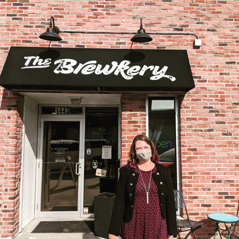 Jen in front of the Brewkery for the art opening