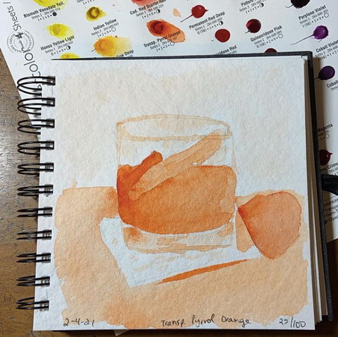 orange watercolor painting of a cocktail