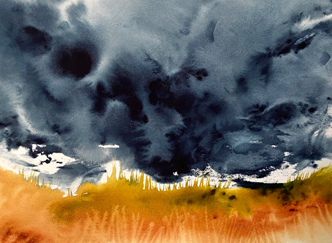 watercolor landscape painting with dark clouds and orange grasses