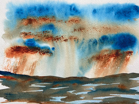 watercolor art storms over puddles