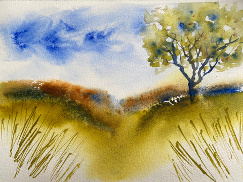 watercolor art spring landscape with tree