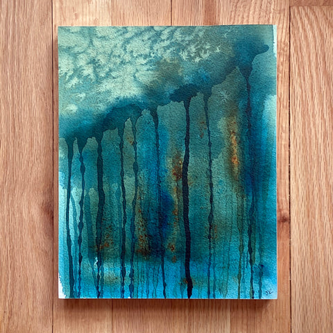 """Drip Forest"" original watercolor painting"