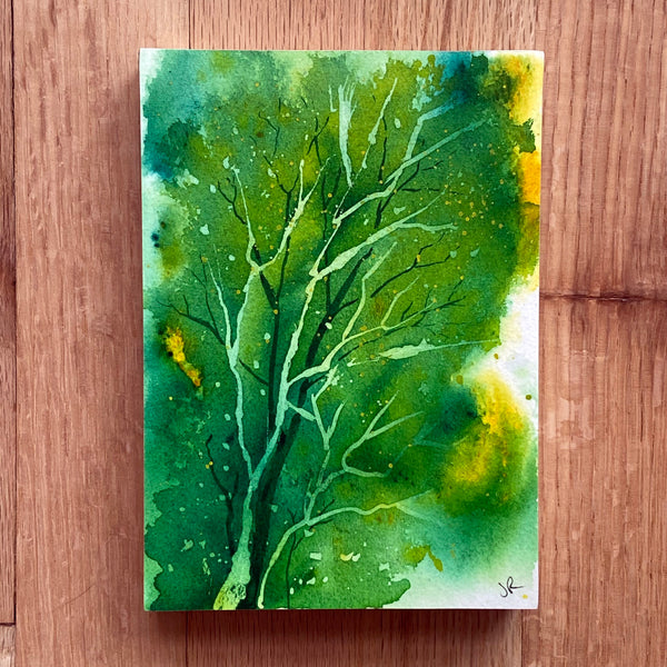 """Spring Greens"" original watercolor painting mounted on board"