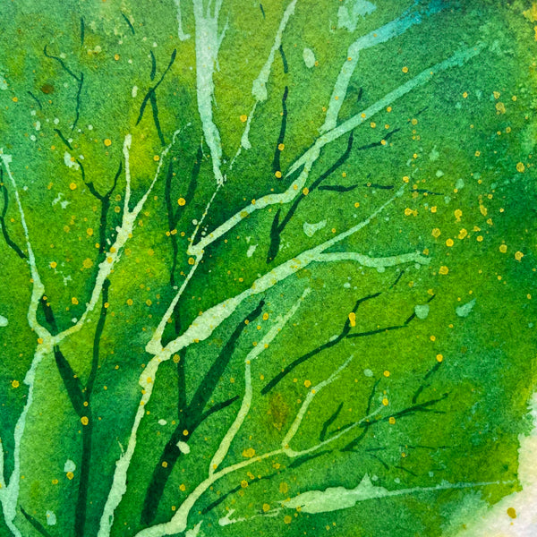 """Spring Greens"" original watercolor painting closeup"
