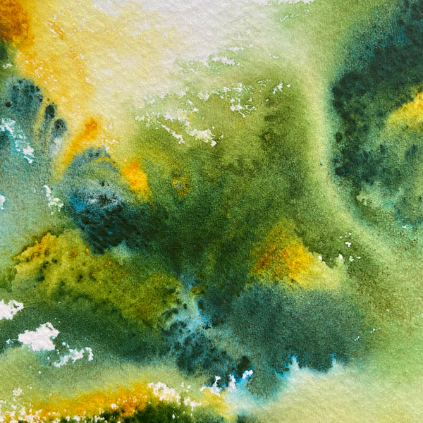 "Closeup of ""Verdant"" original watercolor palette knife painting mounted on board"