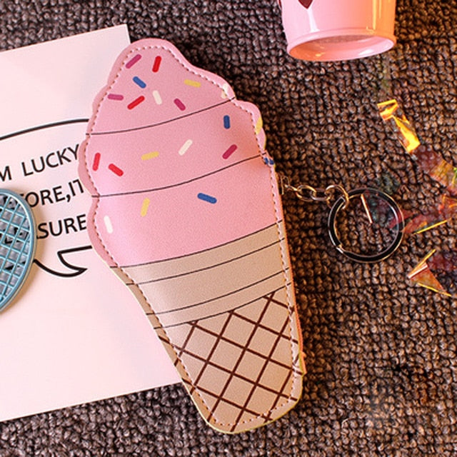 Vacclo Ice-cream Food Shape PU Coin Purse Portable Card Key Earphone Creative Storage Bags Pink Girl Gadgets Travel Organizer