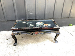 Folding Chinese Coffee Table with Mother of Pearl, Jade and Bone
