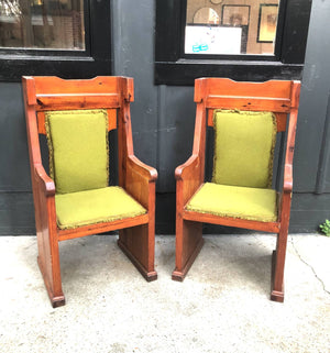 Green Tweed High-Back Wood Throne Chair