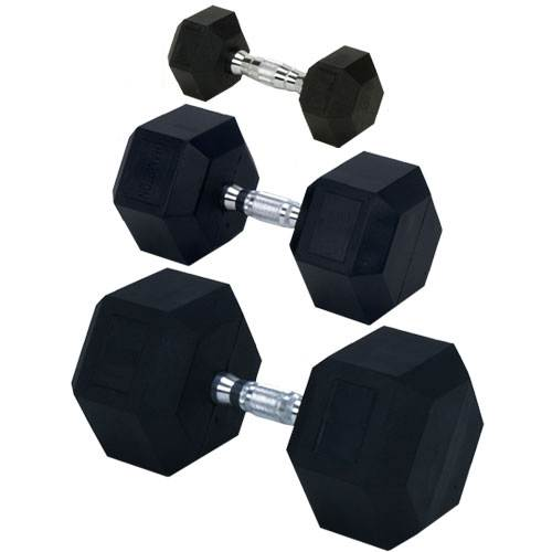 Champion Barbell Rubber Encased Solid Hex Dumbbells 65lb - Givhony