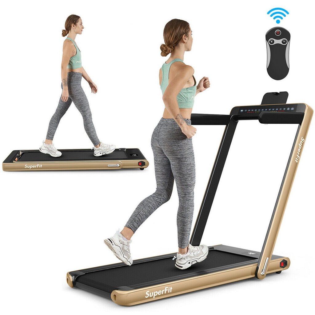 SuperFit 2-in-1 Folding Treadmill with Bluetooth Speaker LED Display - Givhony