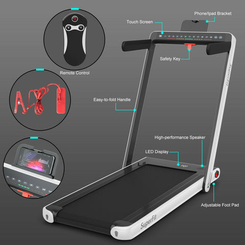 Image of SuperFit 2-in-1 Folding Treadmill with Bluetooth Speaker LED Display - Givhony