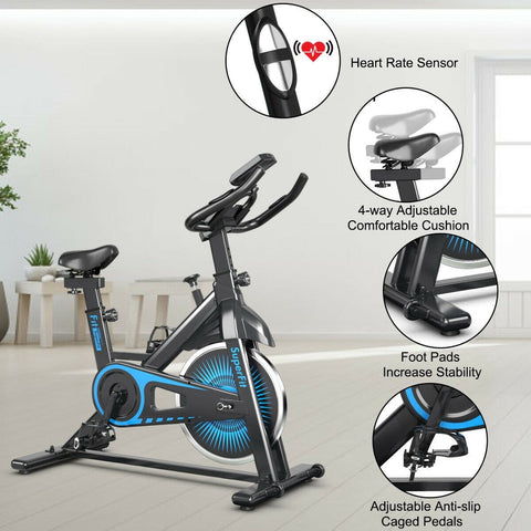 SuperFit Indoor Silent Belt Drive Adjustable Resistance Cycling Stationary Bike - Givhony