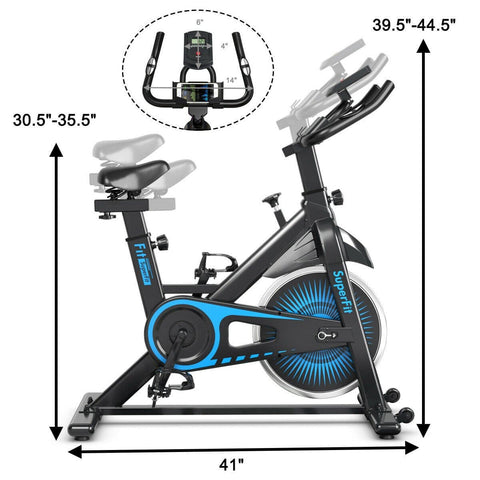 Image of SuperFit Indoor Silent Belt Drive Adjustable Resistance Cycling Stationary Bike - Givhony