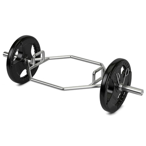 "Image of 56"" Olympic Hexagon Deadlift Trap Bar with Folding Grips Powerlifting - Givhony"