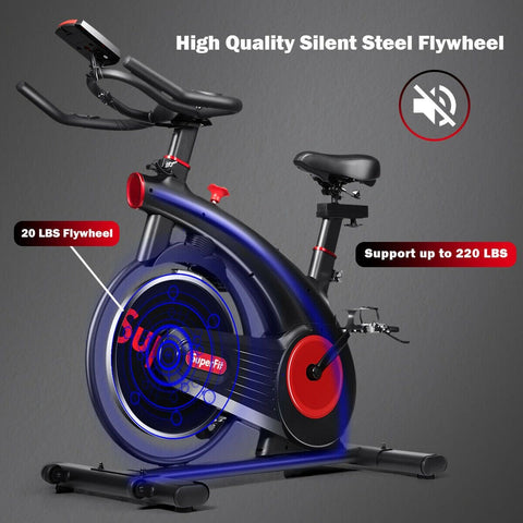 Image of Superfit Stationary Exercise Bike Silent Belt with 20 LBS Flywheel - Givhony