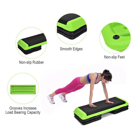 "Image of 43"" Height Adjustable Fitness Aerobic Step with Risers - Givhony"
