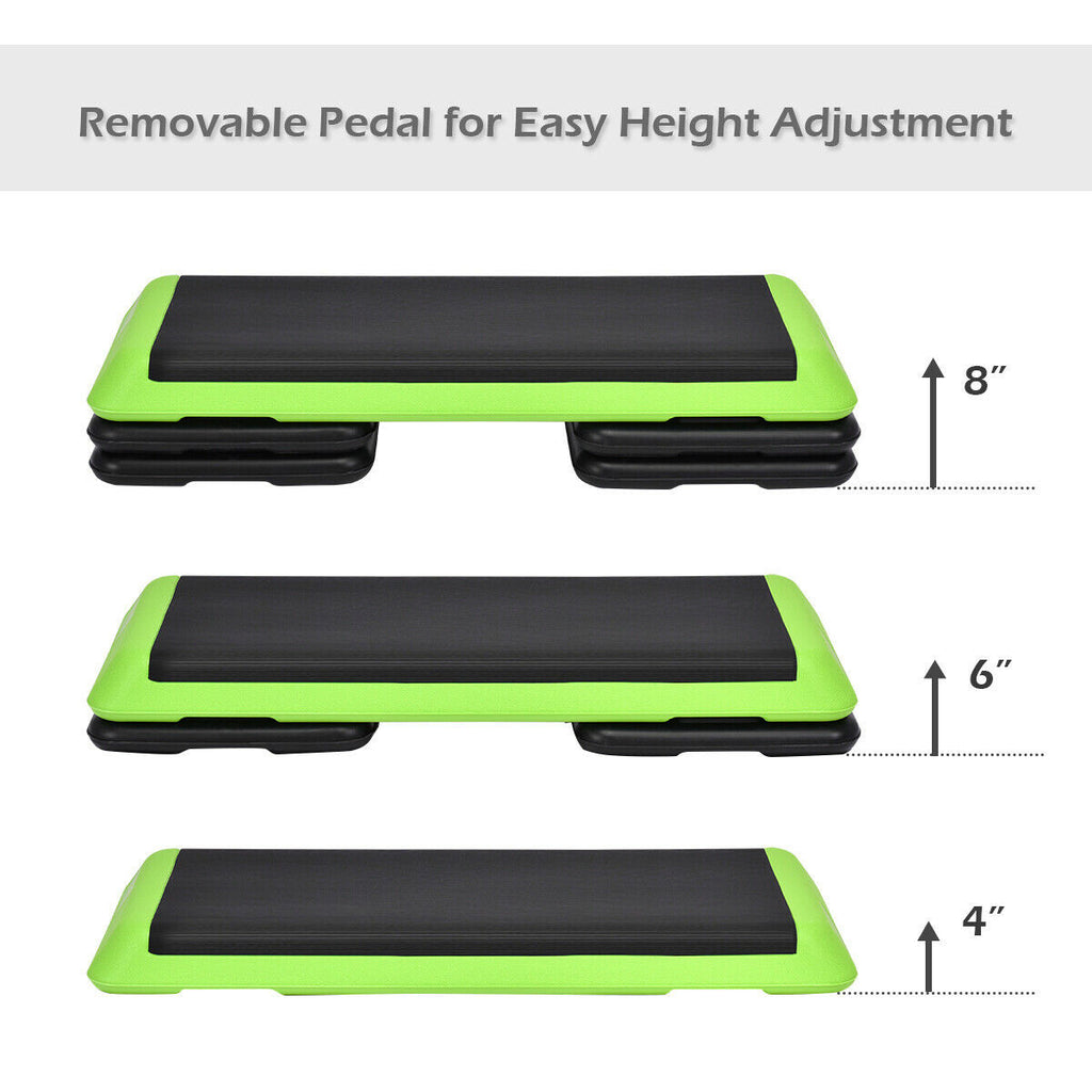 "43"" Height Adjustable Fitness Aerobic Step with Risers - Givhony"