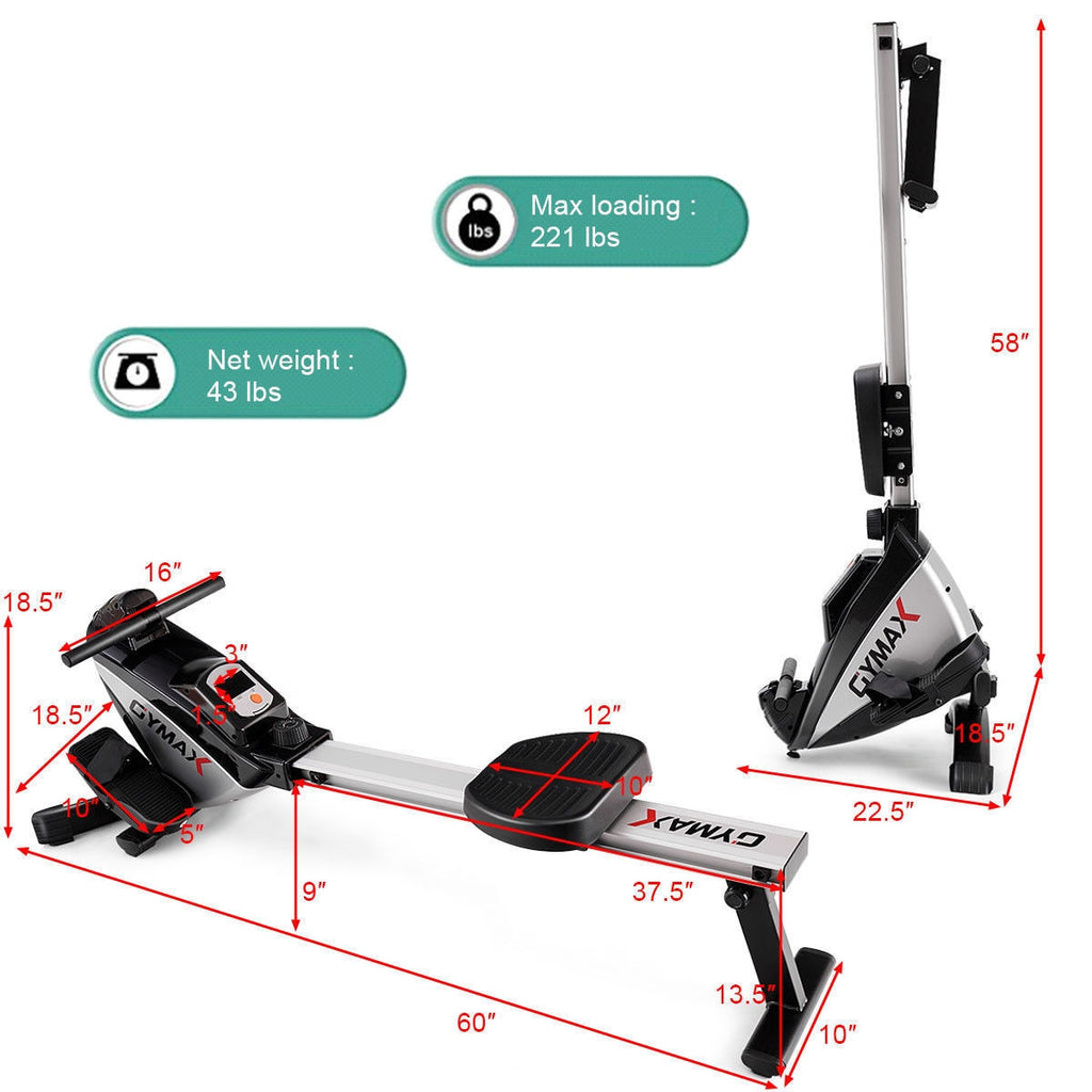 Gymax Folding Magnetic Rower Exercise Cardio Adjustable Resistance - Givhony
