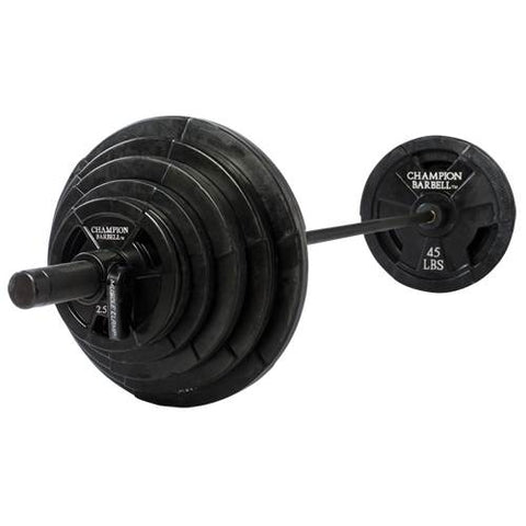 Champion Barbell Rubber Coated Olympic Grip Plate 300 LB set - Givhony