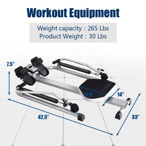 Gymax Adjustable Double Hydraulic Resistance Rowing Machine - Givhony