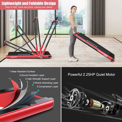 SuperFit 2-in-1 Folding Treadmill with RC Bluetooth Speaker LED Display - Givhony