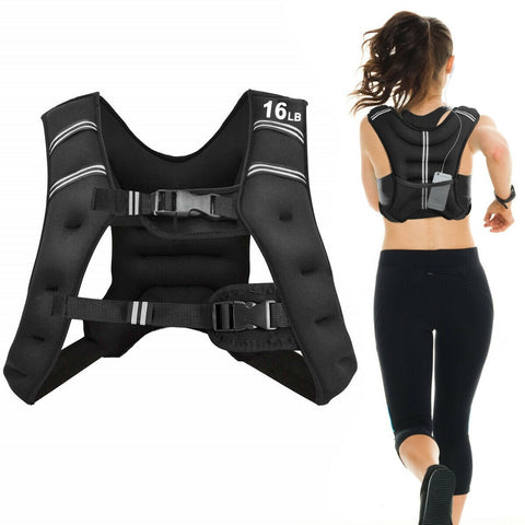 16LBS Workout Weighted Vest with Mesh Bag Adjustable Buckle - Givhony