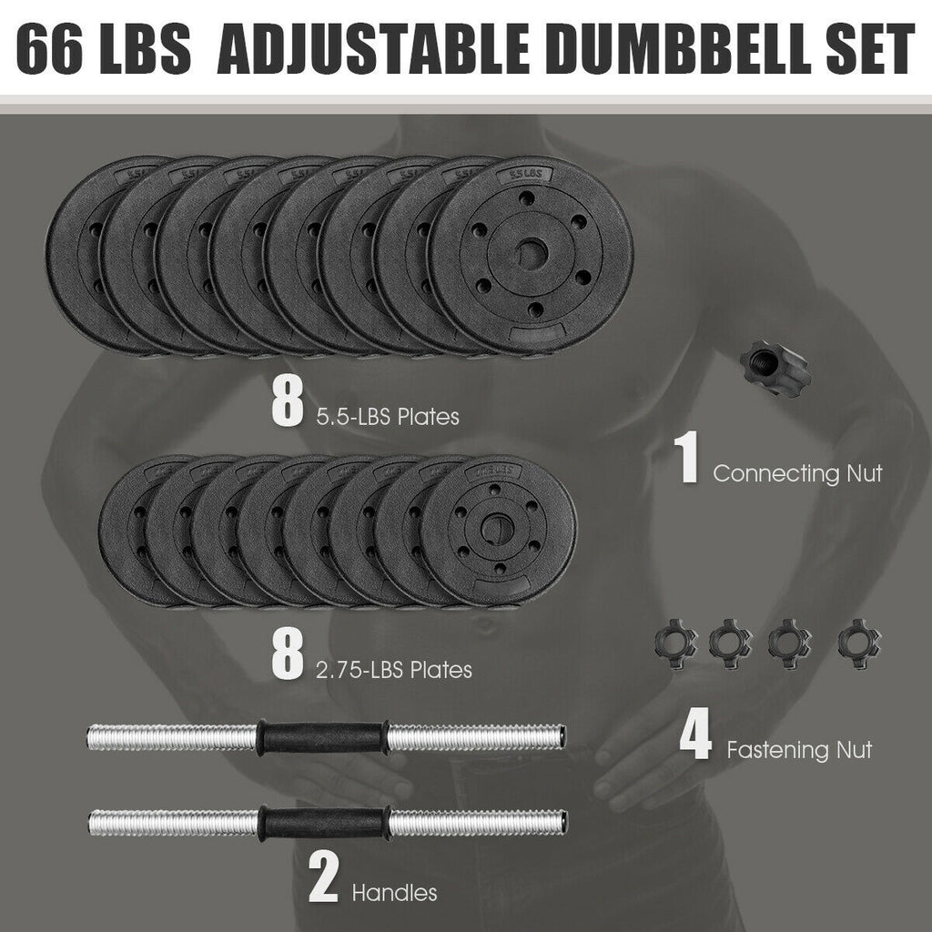 66 LBS 16 Adjustable Plates Fitness Dumbbell - Givhony