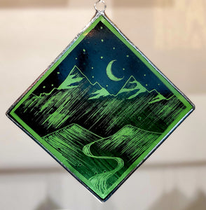 Square Ornament, Green Night: Kiki Renander