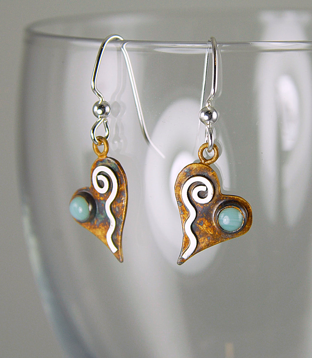 Patina Silver Tiny Heart Earrings with Pale Green Banded Agate and Sterling Silver Wavy Spiral, AE1, Lois Linn Jewelry