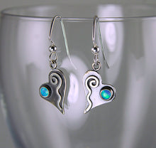 Load image into Gallery viewer, Shiny Silver Tiny Heart Earrings with Blue Opals and Wavy Spiral Hearts, AE1j , Lois Linn Jewelry