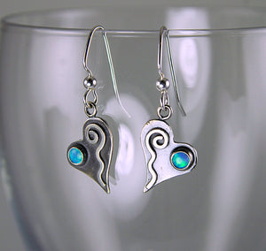 Shiny Silver Tiny Heart Earrings with Blue Opals and Wavy Spiral Hearts, AE1j , Lois Linn Jewelry